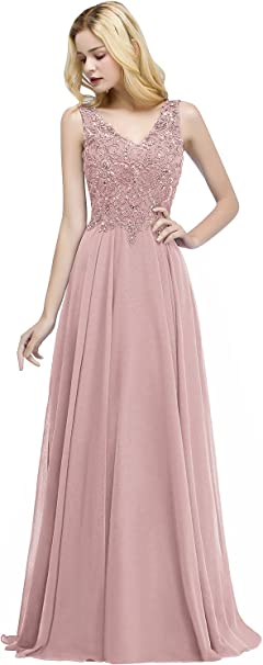Damen Abendkleid Ball Brautjungfern Kleid Maxi A-Linie Chiffon Perlen Bodenlang