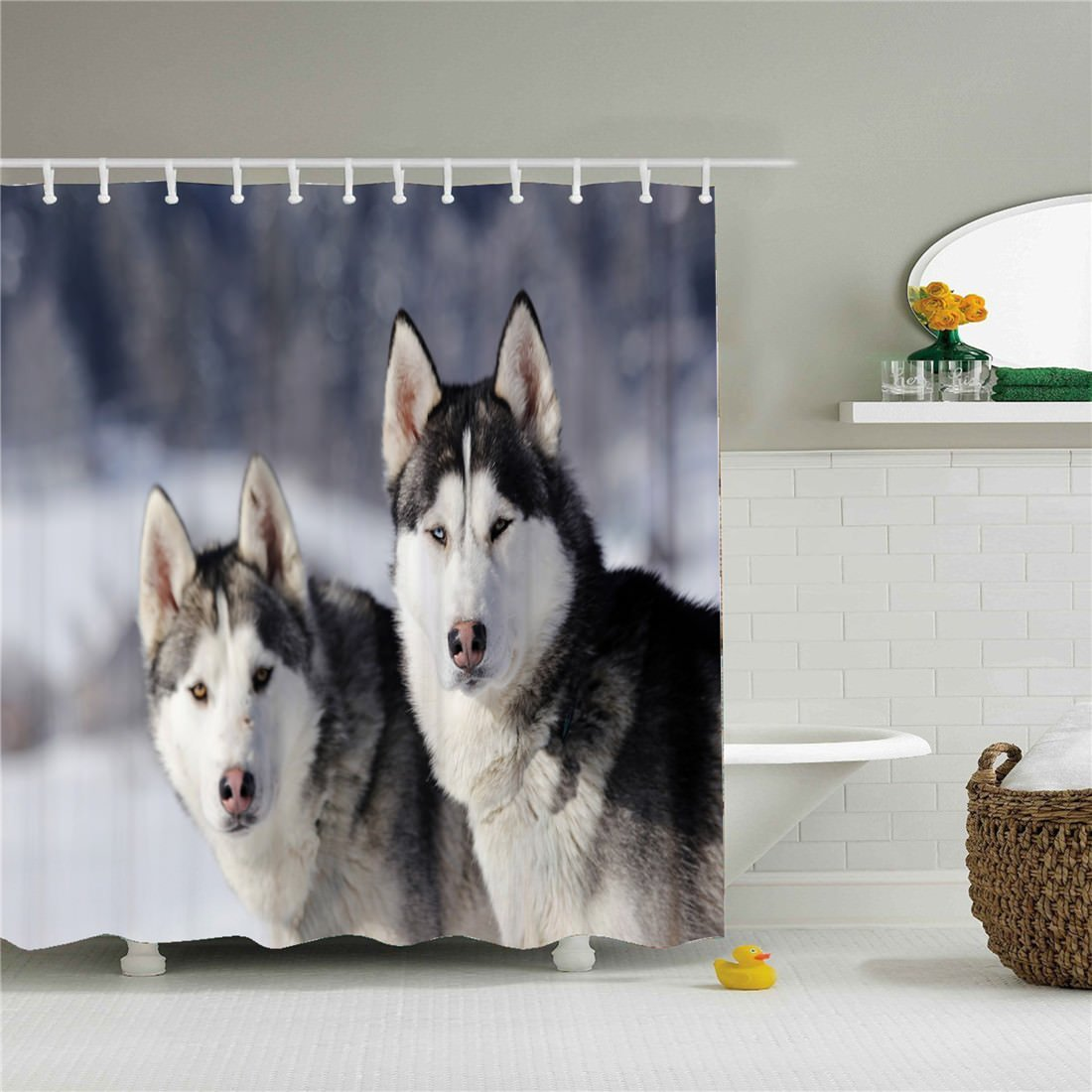 starlight-Bracele Bathroom shower curtain, two little wolves in the snow, white,waterproof, mildew proof, machine washable, environment-friendly material, odorless