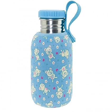 Laken Botella de Acero Inoxidable con Tapón de Rosca y Boca Ancha + Fundas Neopreno 0,50L Azul