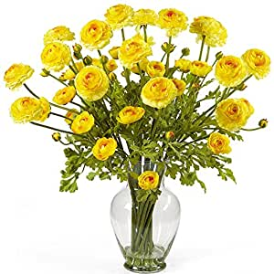 SKB Family Ranunculus Liquid Illusion Silk Flower Arrangement Yellow Natural Home Flower Decor