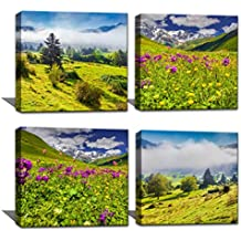 Noah Art-Landscape Art Prints Mountain Artwork Modern Landscape Pictures on Canvas Print Wall Art 4 Piece Wooden Framed Landscape Paintings for Living Room Wall Decor, Ready to Hang