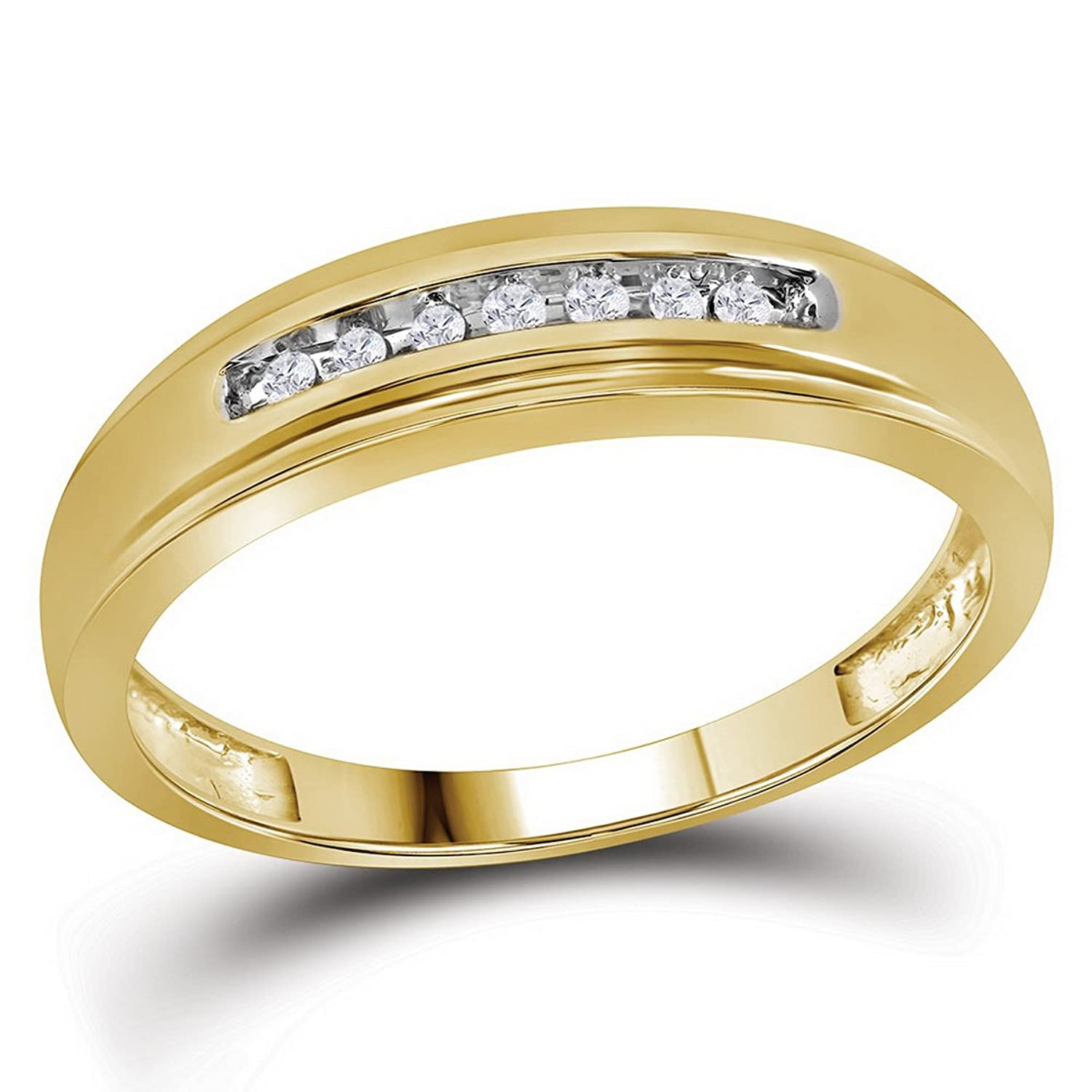 10kt Yellow Gold Mens Round Diamond Wedding Anniversary Band Ring 1/12 Cttw (I2-I3 clarity; J-K color)