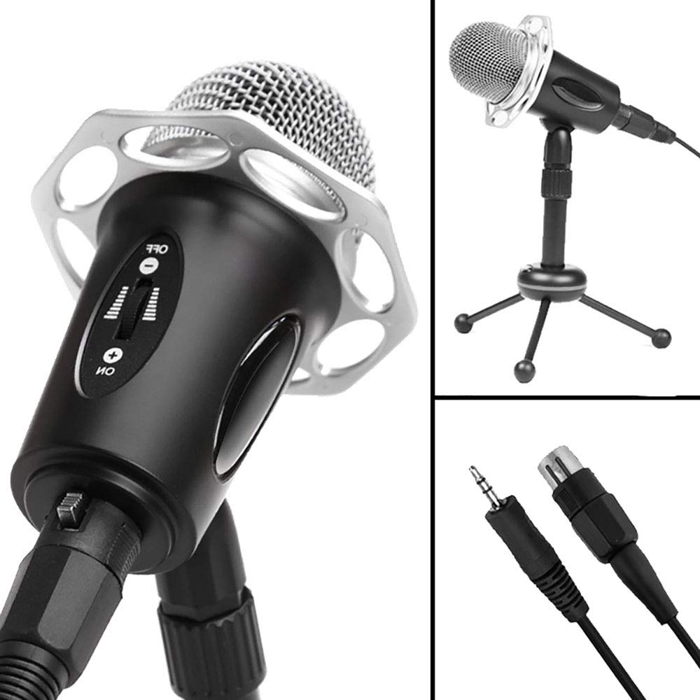 ZYG.GG Professional Game Condenser Sound Recording Microphone with Tripod Holder, Height Adjustable Computer Condenser Microphone