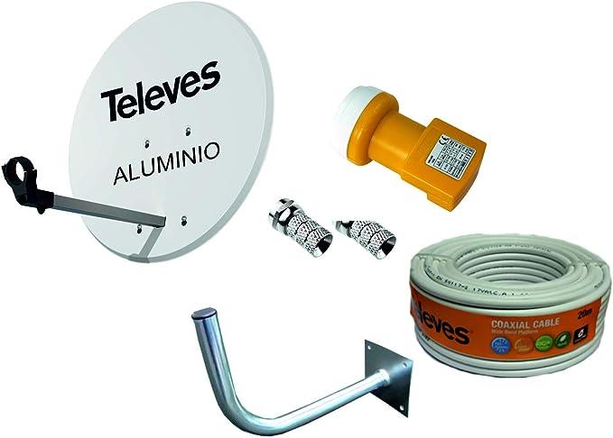 Kit Antena PARABOLICA para Astra TELEVES 63cm Aluminio + Rollo DE Cable 20 MT + Soporte A Pared + CONECTOES Y LNB