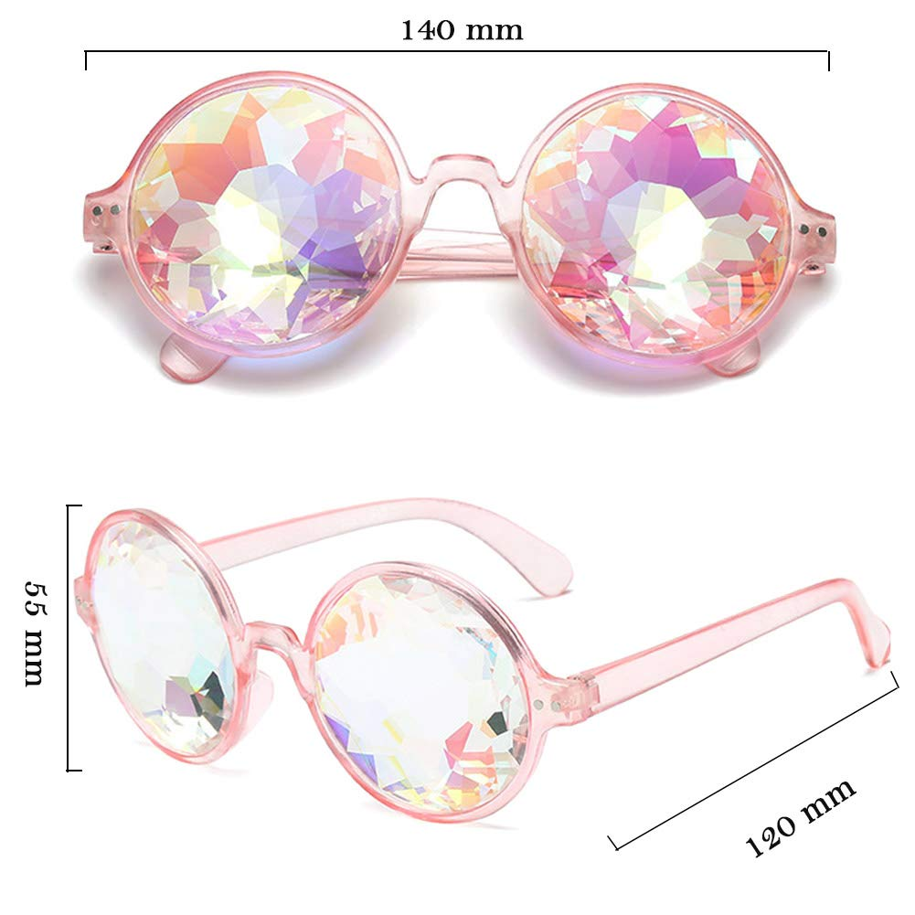 OMG/_Shop Kaleidoscope Glasses,Rave Festival Rainbow Crystal Prism Goggles
