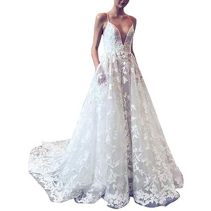 Vestidos Tirantes Encaje Mujer Larga Blanco,Vestido de ...
