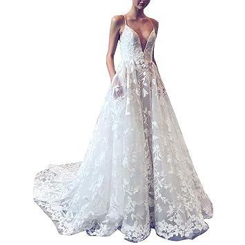 Vestidos Tirantes Encaje Mujer Larga Blanco,Vestido de cóctel de ...