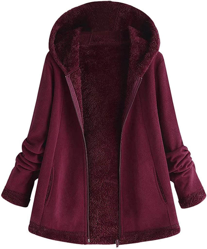 Womens Jackets Coat Toamen Long Sleeve Winter Warm Vintage Printing Faux Fleece Thicken Hooded Outerwear Overcoat Oversized Plus Size
