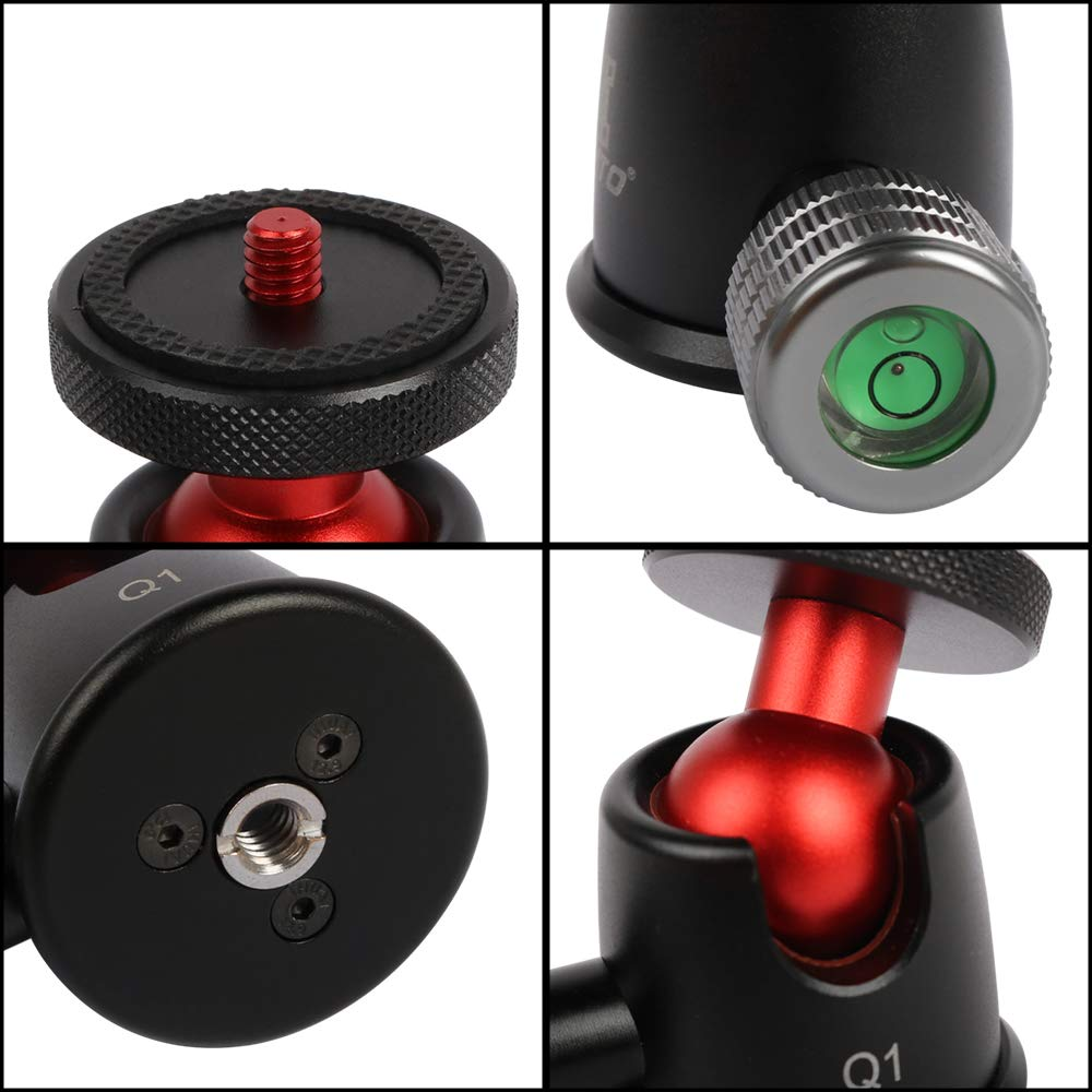 Fomito Soporte de luz tel/éfono DSLR Cabezal de tr/ípode para tr/ípode Q1 360/° con tr/ípode inclinable de 90/° y Tornillo de 1//4 para c/ámara Digital monopi/é casa de luz GoPro