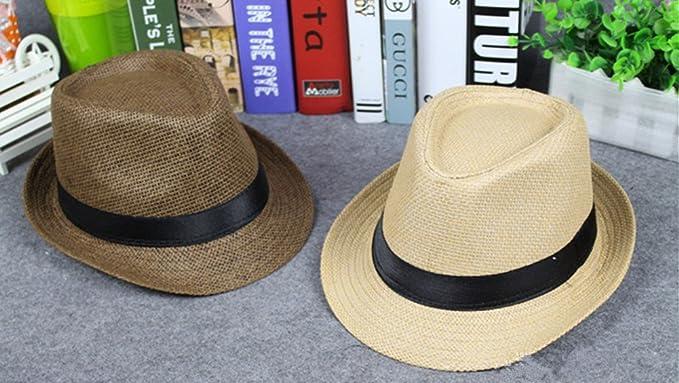 DaoRier Hombre Mujer Panama sombrero Jazz Sombrero Sombreros flexible de sol  verano playa Sombreros Beach sombrero sombrero de paja 1 pieza M 56-58CM  beige  ... 5e69f07c4940