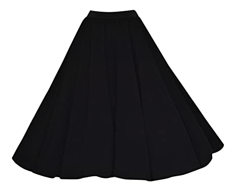 e17ef5910a Ladies 40's 50's Vintage Style Black Crepe Elasticated Stretch Waist Full  Circle Rockabilly Flared Jive Swing