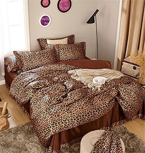 Leopard Satin Sheets - Lotus Karen Luxury Silk Like Satin Bedding Sets,1Duvet Cover,1Fitted Sheet,2Pillowcases,Solid Color,Classic and Fashion Forever,Super Soft and Smooth,King Queen Full Twin Size (King Size, Leopard)