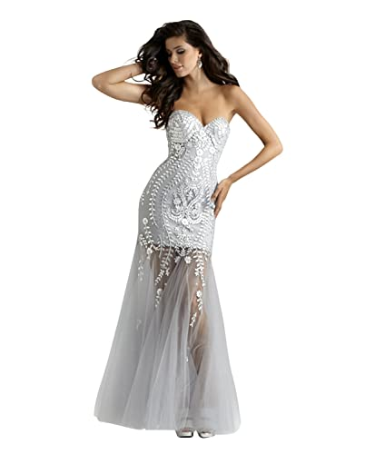 Strapless Beaded Mermaid Couture Pageant and Evening Dress 4306