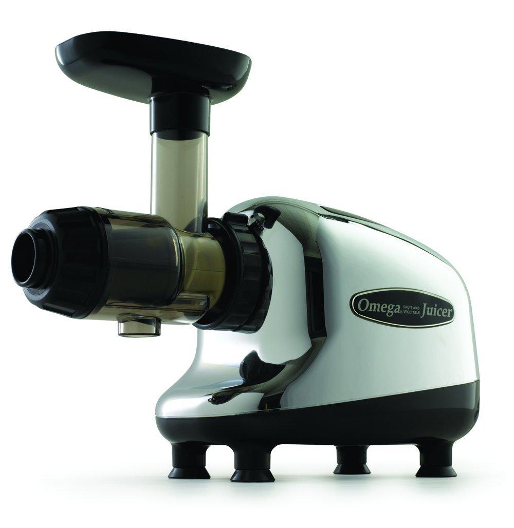 Omega J8005 Nutrition Center Single-Gear household Masticating Juicer, Chrome and Black