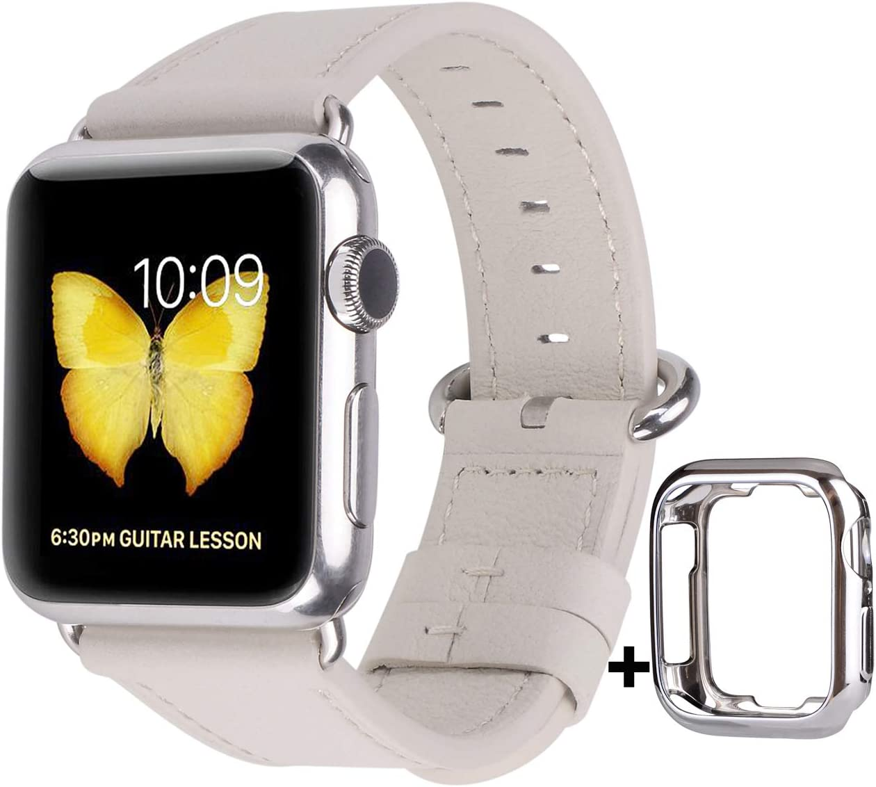 JSGJMY Leather Band Compatible with Apple Watch 38mm 40mm 42mm 44mm Women Men Strap for iWatch SE Series 6 5 4 3 2 1 (Off White with Silver Clasp, 42mm/44mm M/L)