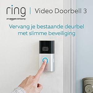 Ring Video Doorbell 3   HD-video, geavanceerde bewegingsdetectie, en eenvoudige installatie   Inclusief proefabonnement van 30 dagen op Ring Protect Plus