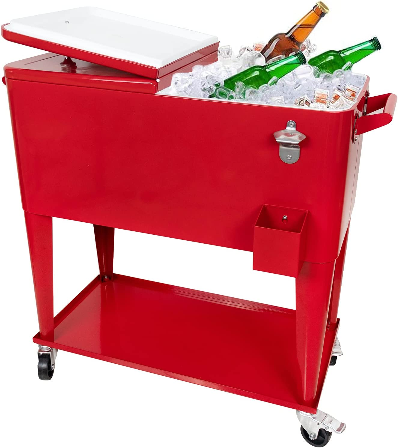 Nattork 80 Quart Rolling Cooler Cart for Outdoor Patio Deck Party, Portable Party Bar Cold Drink Beverage Cart,Ice Chest with Shelf, Water Pipe and Bottle Opener