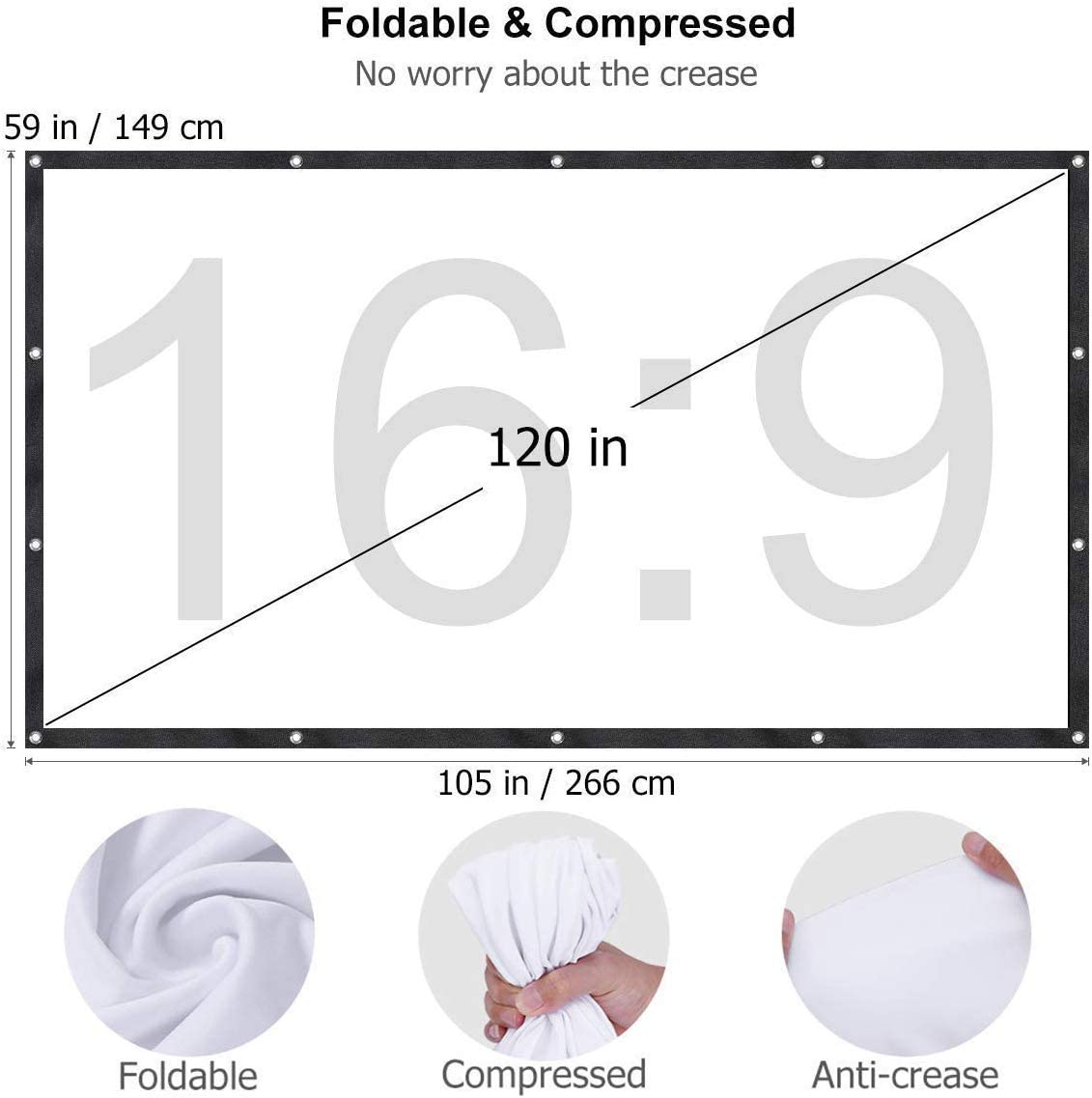 Projector Screen,120 Inch 16:9 HD Foldable Anti-Crease Portable Projector Movie Screen for Outdoor Indoor Home