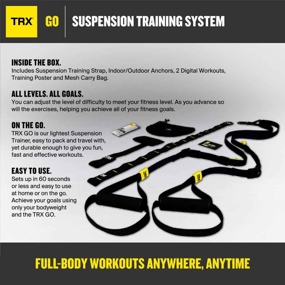 Schwarz GO Suspension Trainer-Kit Perfekt geeignet f/ür unterwegs und f/ür das Training im Innen- und Au/ßenbereich TRX Training Der leichteste und kleinste Suspension Trainer