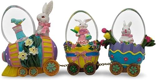 BestPysanky Bunnies Riding Easter Egg Train Water Globe