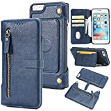 Flip Wallet Case iPhone 6 Plus iPhone 6s Plus Accessories Shock Protection Card Slots Lightweight Back Shell Adjustable Stand Blue