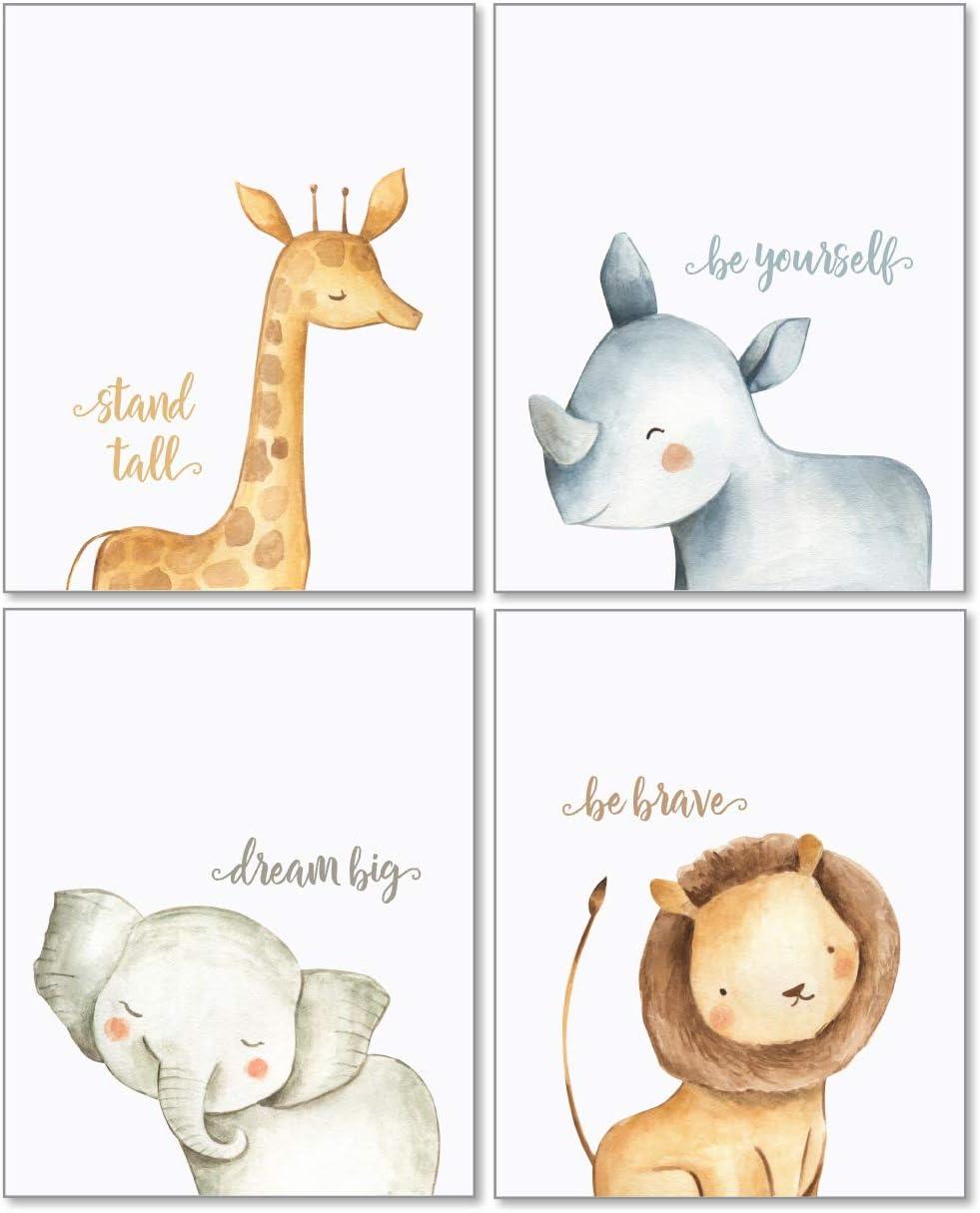 Amazon Com Confetti Fox Safari Baby Animals Nursery Wall Art Decor 8x10 Unframed Set Of 4 Prints Boy Girl Kids Watercolor Quotes Bedroom Bathroom Decorations Giraffe Rhino Elephant Lion Posters Prints