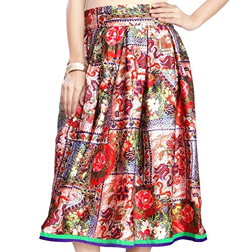 Satin Handicrfats Multicolour Skirt Admyrin Indian Export Women qpd6YXw