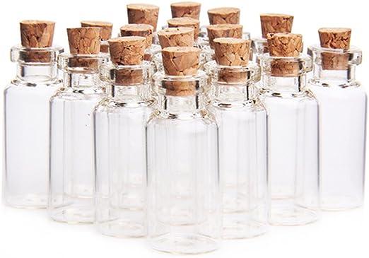 Glass Bottles Small Sample Jars Empty Mini Clear Storage Cork Stopper Vial 50pcs