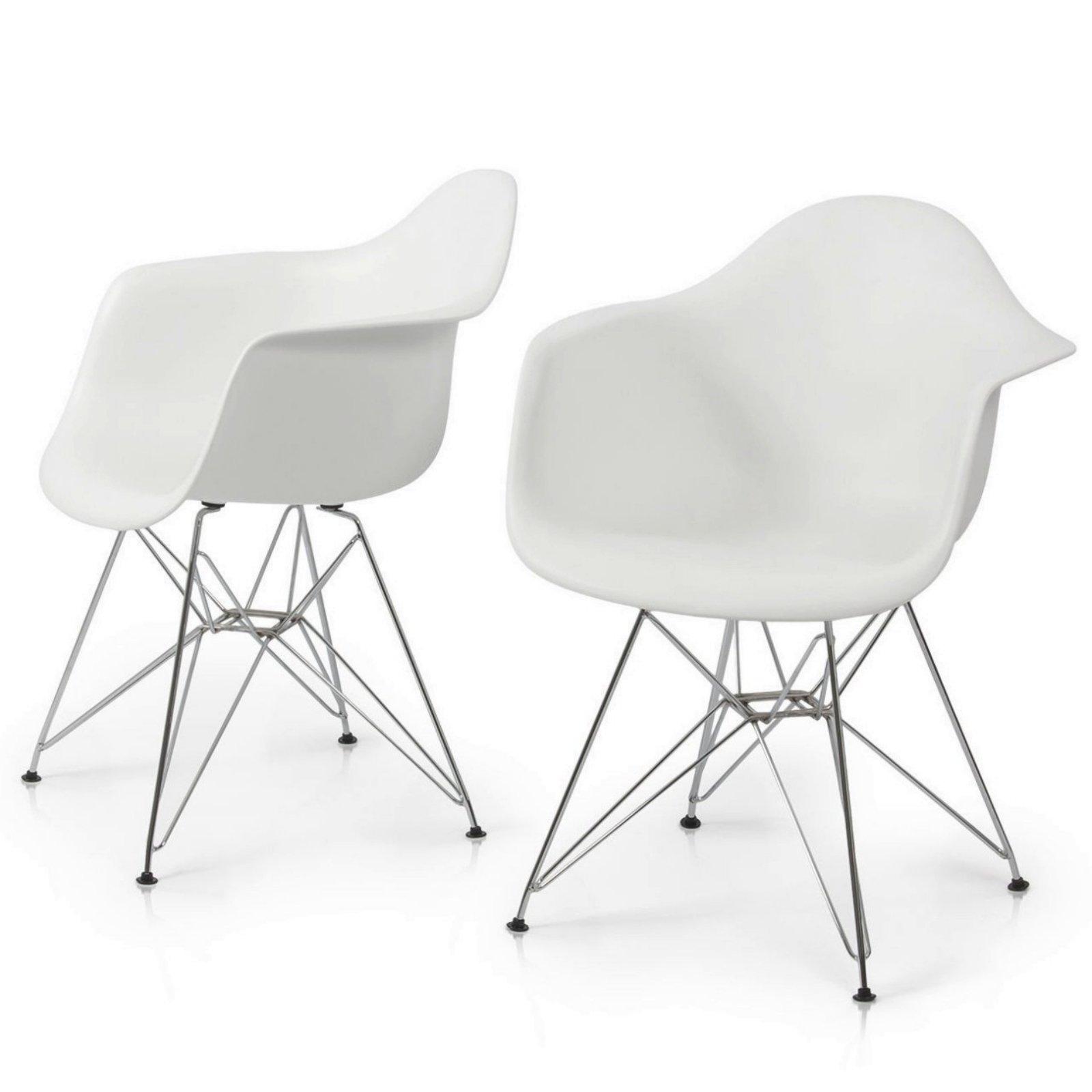 Modern Dining Chair Chromed Steel Frame Durable ABS Plastic Posture Support Backrest Design Innovative Side Chair - Set of 2 White #1425