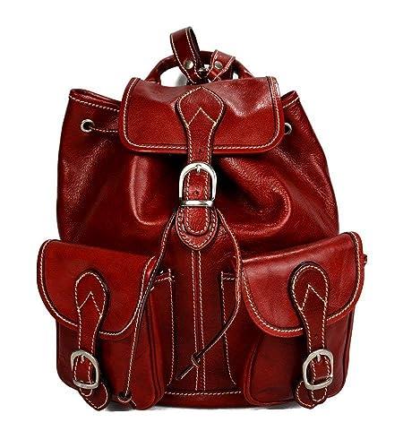 Mochila de piel rojo mochila piel mochila hombre mujer mochila de viaje mochila de cuero mochila