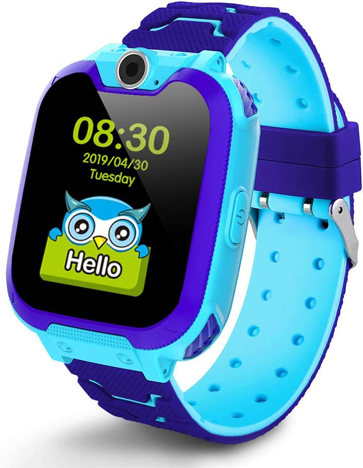Deyawe Kids Smartwatch Phone,Colorful Touch Screen Smartwatch with Camera Games Touch Screen SOS Call Voice Chatting Christmas Birthday Gift (Blue)