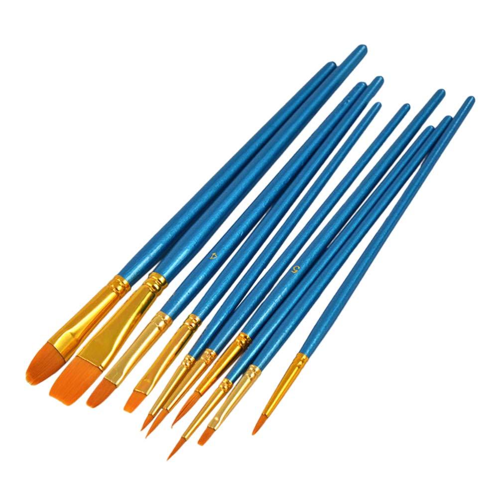 NUOBESTY pincel de pintura para detalles finos pintura art/ística acr/ílico acuarela aguada aceite 10 piezas