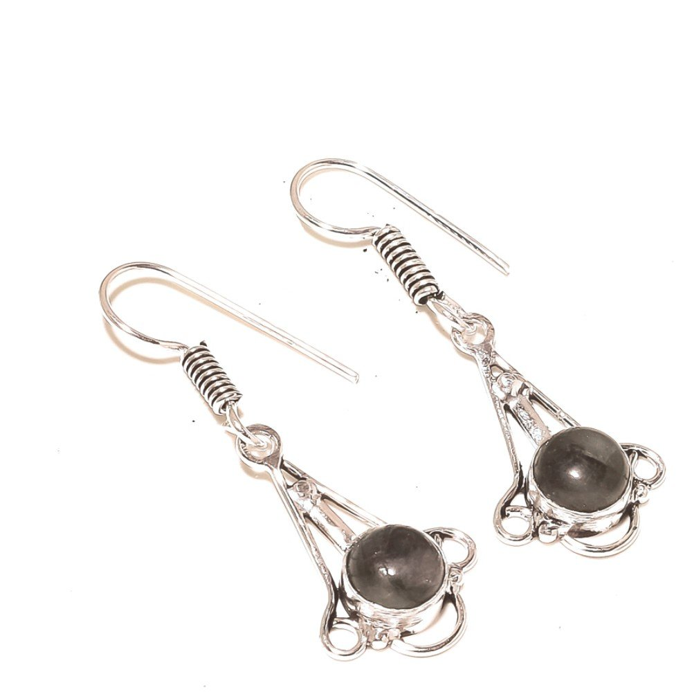 Gift Jewelry Black Labradorite Sterling Silver Overlay 5 Grams Earring 1.75 Long