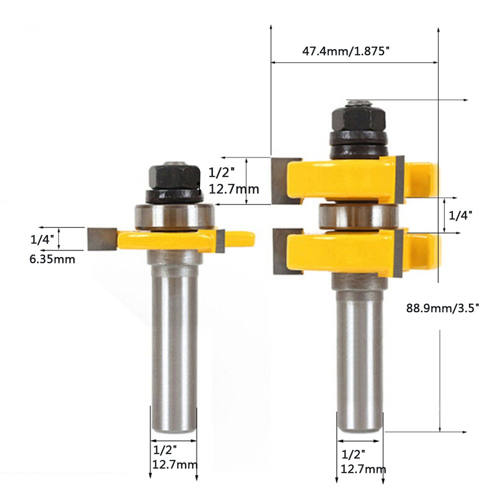 Kitspro Tongue and Groove Set,2Pcs Router Bits Set 1/2'' Shank,Wood Door Flooring 3 Teeth Adjustable T Shape Wood Milling Cutter Woodworking Tools by KitsPro (Image #2)