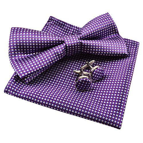 Alizeal Men's Vintage Checkered Bow Tie& Handkerchief& Cufflinks Set (Dark Purple) (Channel Purple Set)