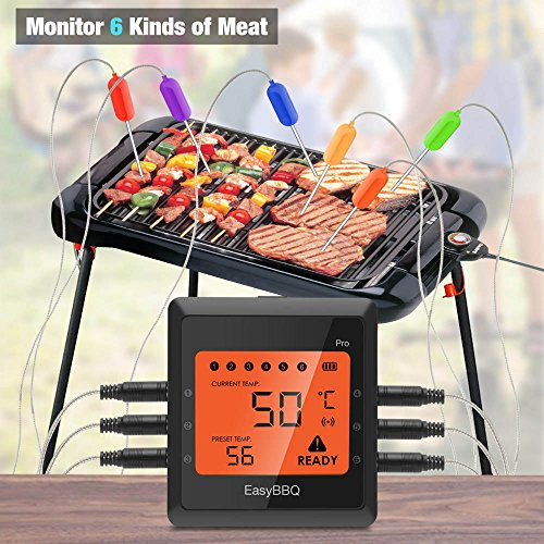 Silipower 1 bbq1 Bbq, 1 x Meat Thermometor + 6 x Probes, Black