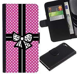Paquete lunar rosado Negro Bowtie- la tarjeta de Crédito Slots PU Funda de cuero Monedero caso cubierta de piel Para Apple iPhone 5 / iPhone 5S