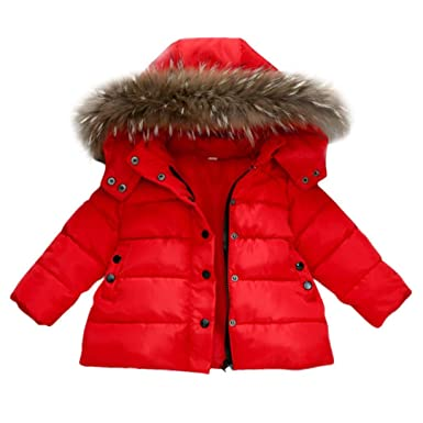 Abrigo acolchado para bebé niña con pelo en capucha,Yannerr niñas niños abajo chaqueta otoño