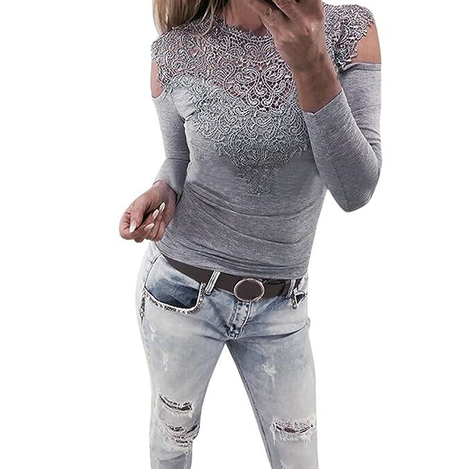 Encaje Larga De Con Hueca En Señoras Manga Rosa Camiseta Crochet Cuello Túnica Fuera Las Del Ocasionales Blusa Gris Tops Flojas Mujeres V Hombro aq7pd7