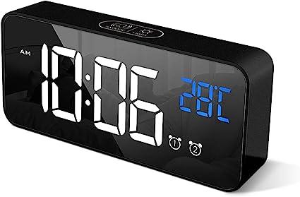 Sveglia Digitale Display LED 7 Porta di Ricarica USB 5 Luminosit/à 12//24H Orologio Scrivania per Bambini Anziani Sveglia da Comodino Camera da Letto Cucina Ufficio Facile da Usare Sonnellino