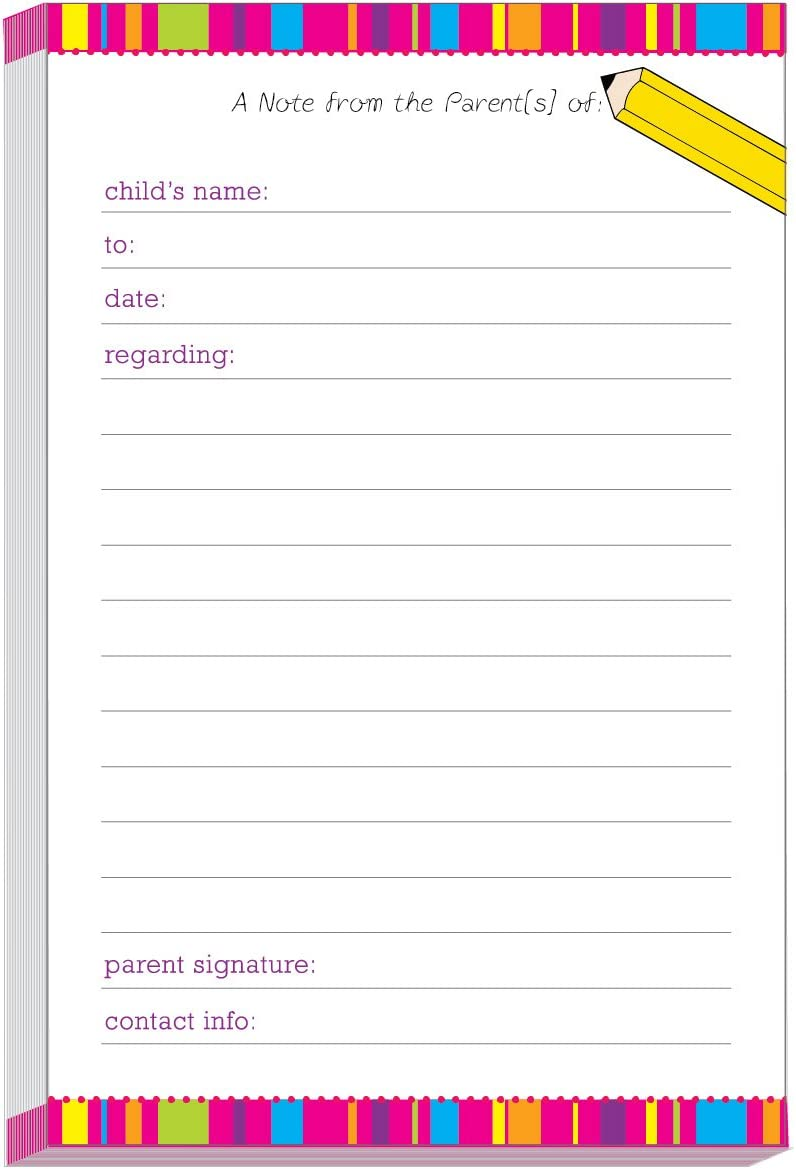 Bright Stripes School Excuse Pad | Notes to School | Notepads for Parents of Students | Notes to Teacher | School Pads | Excuse Pad | Stationery for School | Memo to School | School Supplies