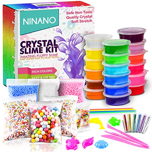Lifetime Pre Motor - DIY Fluffy Slime Kit, Crystal Slime Making Kit Comes with 18 Colors Slime, 6Pack Colorful Foam Balls, 250 Fresh Fruit Decoration, 6 Bottles Holographic Glitter Shake Jars for Kids Aged 6+