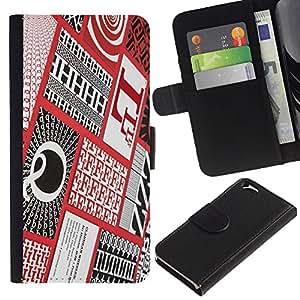 Cartas Caligrafía roja a cuadros Patter- la tarjeta de Crédito Slots PU Funda de cuero Monedero caso cubierta de piel Para Apple (4.7 inches!!!) iPhone 6 / 6S