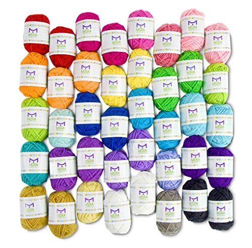 Mira Handcrafts 40 Assorted Colors Acrylic Yarn Skeins with 7 E-Books - Perfect for Any Knitting and Crochet Mini (Crewel Yarn)