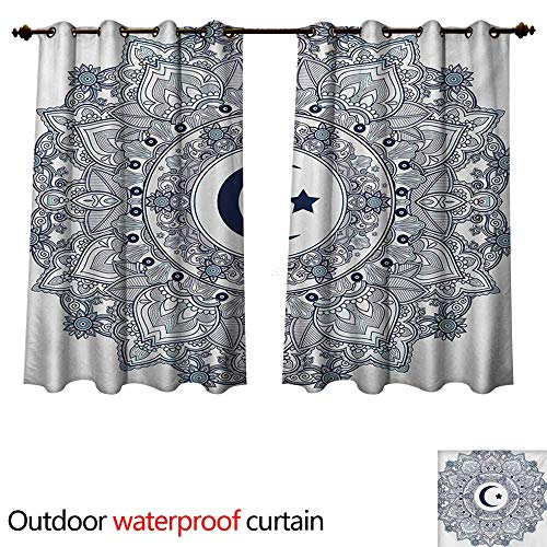 Arabesque Tier Two - WilliamsDecor Moon 0utdoor Curtains for Patio Waterproof Arabesque Symbol Eastern Design Religious Celebration Vintage Circle Pattern W72 x L72(183cm x 183cm)