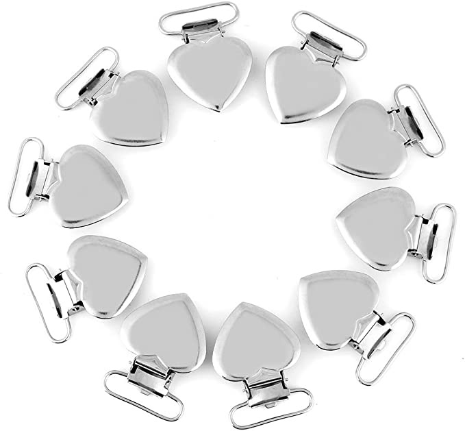 Braces Clips Belt Clips 30pc Sliver Metal Pacifier Clips 78 Round Top,Suspender Clips Dummy Clips,Suspender Clips,ID Card Clips