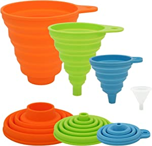 4 Different Sizes Kitchen Funnel, Funnels for Filling Bottles, Food Grade Silicone Collapsible Funnel, Premium Canning Funnel/Food Funnel, Large Funnel for Wide Mouth Jar, Medium/Small/Mini Funnel Set