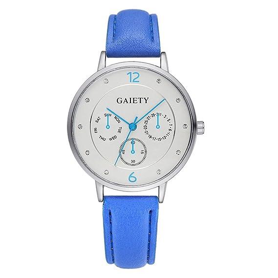 rainbabe azul reloj fluorescente falsos tres ojos analógico cuarzo reloj fluorescente puntero fluorescencia