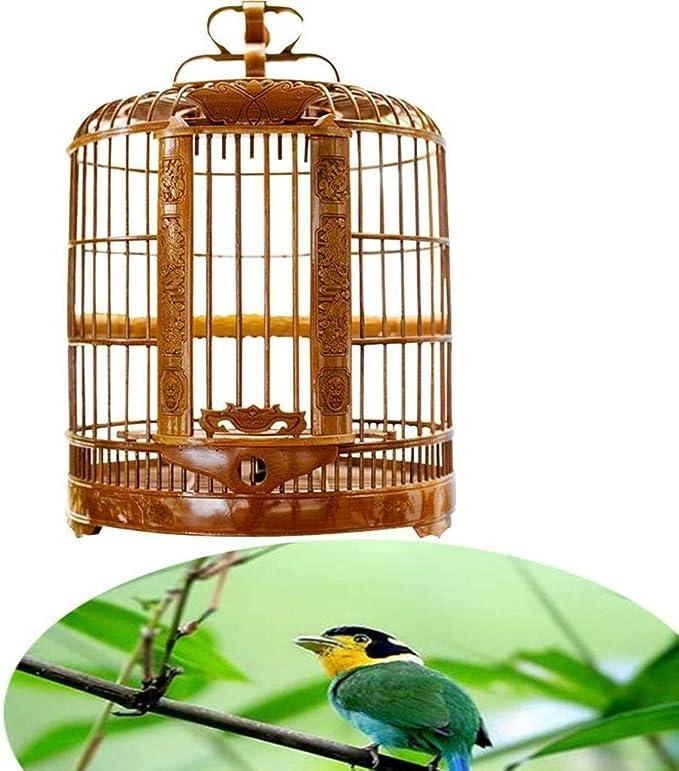 KUANDARM Jaula De Pájaros Tallada Antigua Que Cuelga La Casa De Pájaros De Bambú Adecuada para La Decoración del árbol Al Aire Libre De La Cría De Aves