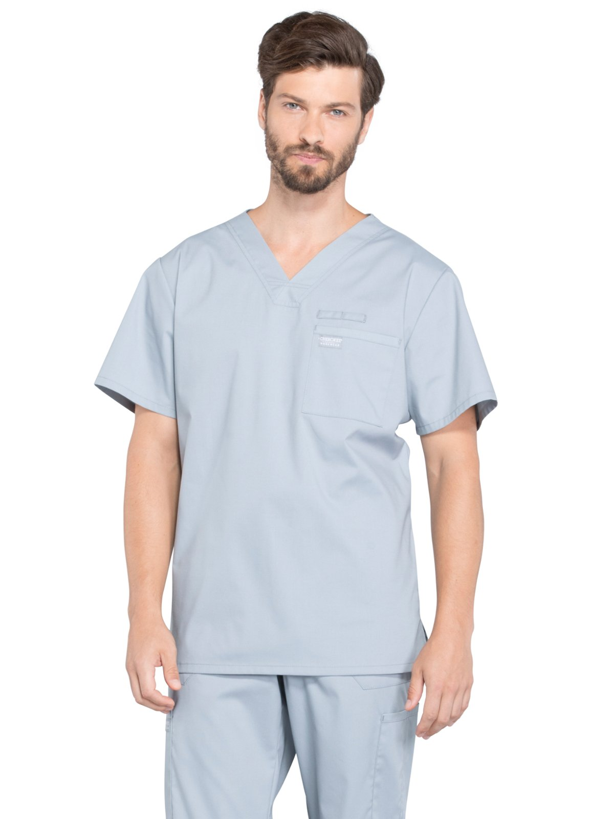 Cherokee Professionals Workwear Men's V-Neck Solid Scrub Top XXXXX-Large Grey
